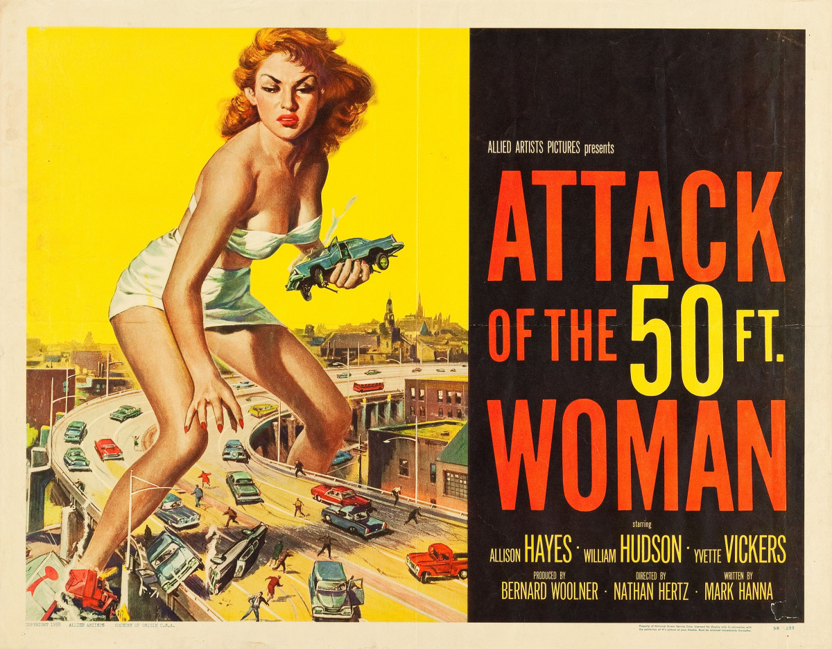 """Attack of the 50 Foot Woman"" Allied Artists (1958) Half Sheet 22"" X 28""."