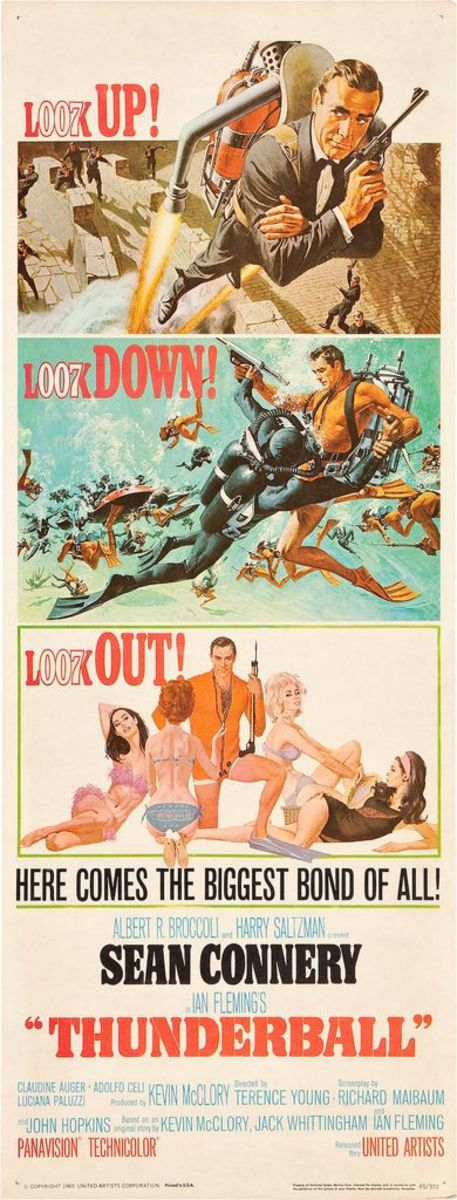 "James Bond ""Thunderball"" United Artists (1965). Insert 14"" X 36"" Sean Connery"