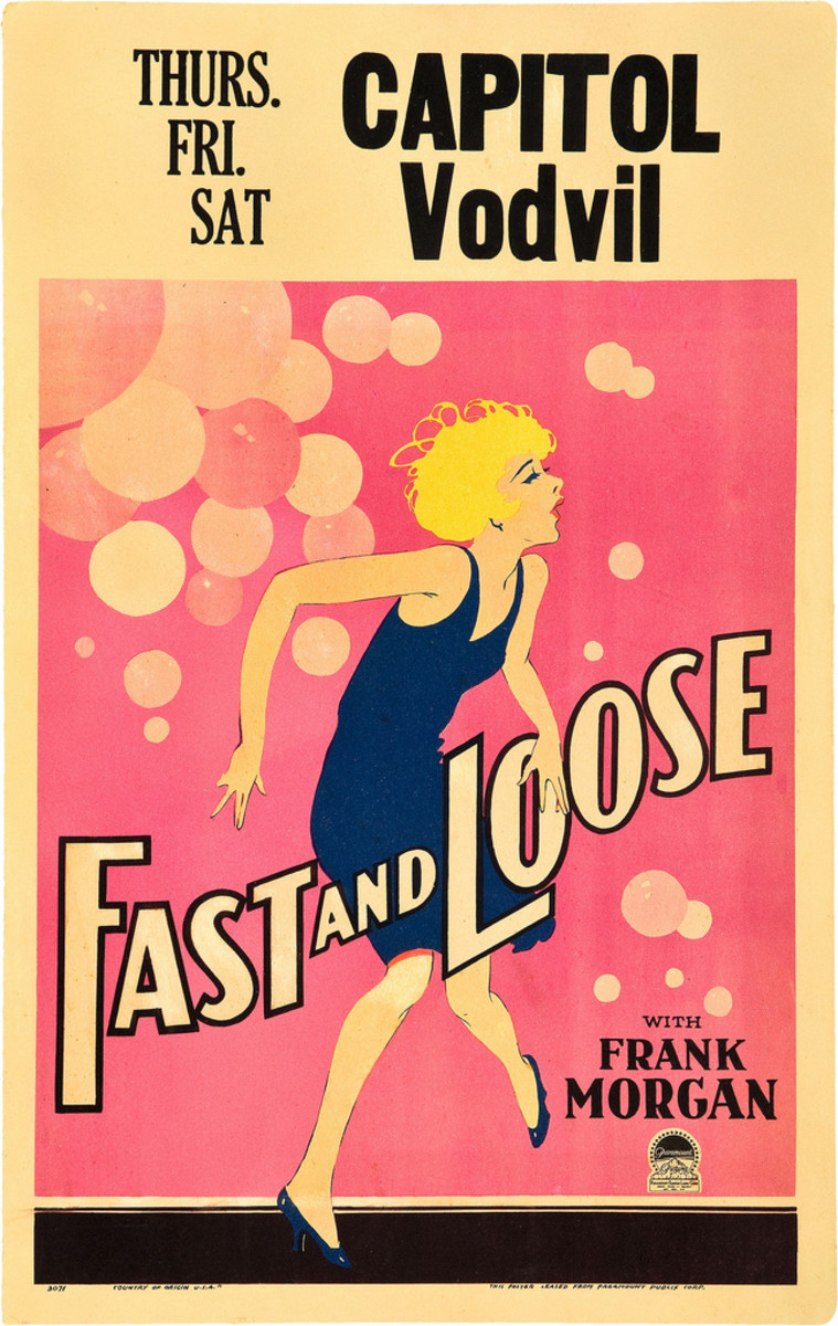 """Fast and Loose"" Paramount  Window Card (1930) 14"" X 22"" Frank morgan"