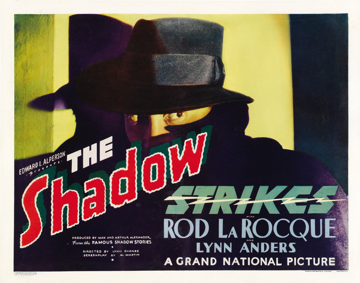 "The Shadow Strikes (Grand National, 1937) Half Sheet Style A (22"" X 28"")  Rod La Rocque, Lynn Anders"