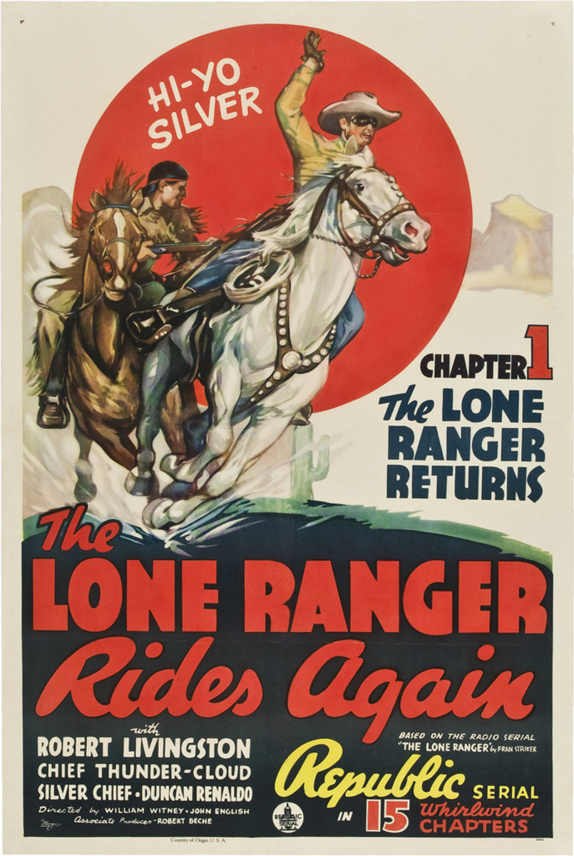 """The Lone Ranger Rides Again"" Republic, . One Sheet, Chapter 1 (1939)  27"" X 41"" Robert Livingston, Chief Thundercloud"