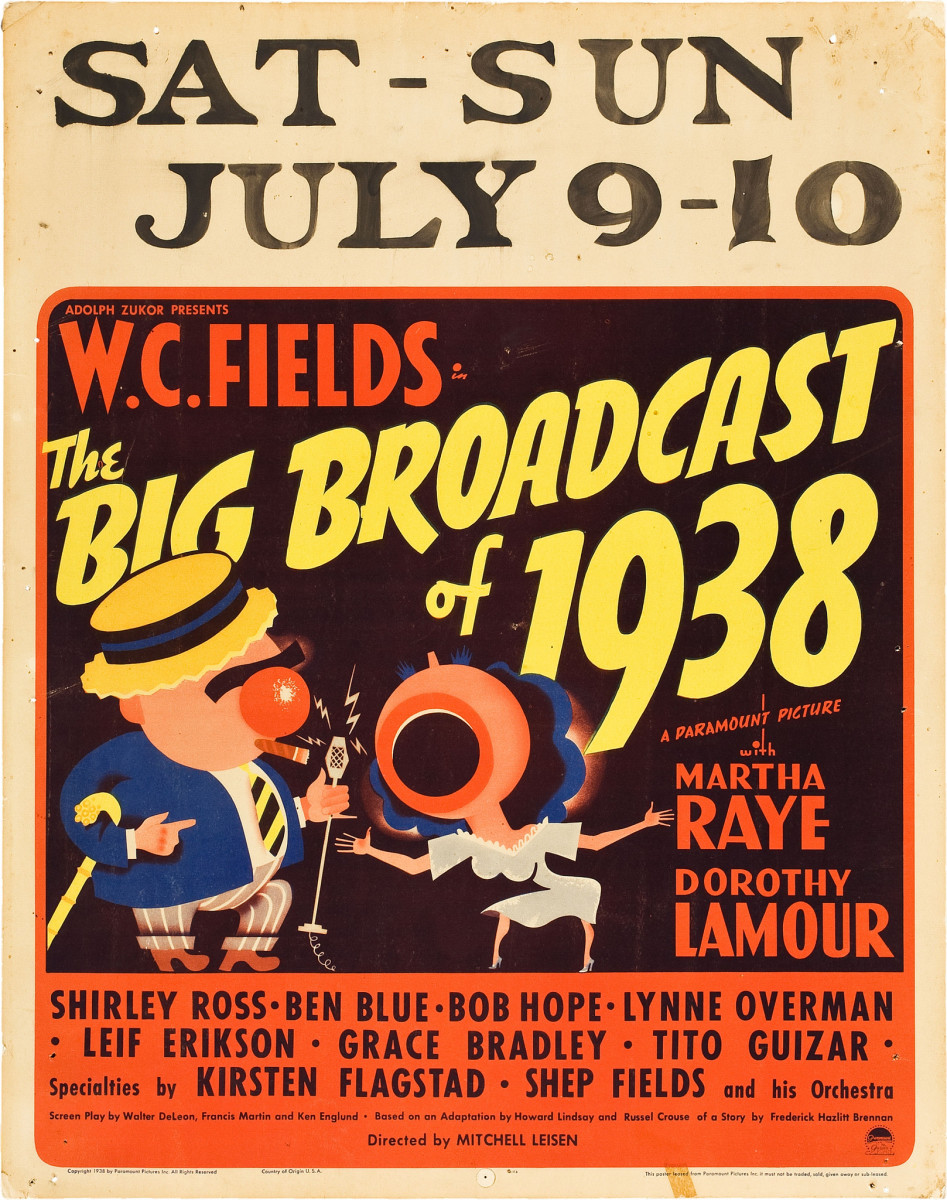 "The Big Broadcast of 1938 Paramount Jumbo Window Card 22"" X 28"" W.C. Fields, Martha Raye, Dorthy Lamour"