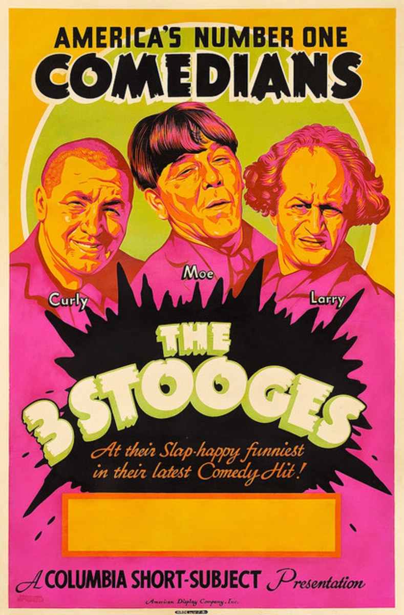 The Three Stooges Americas Number Oner Comedians Stock Poster 1930s Produced by the American Display Co Day-Glo Poster