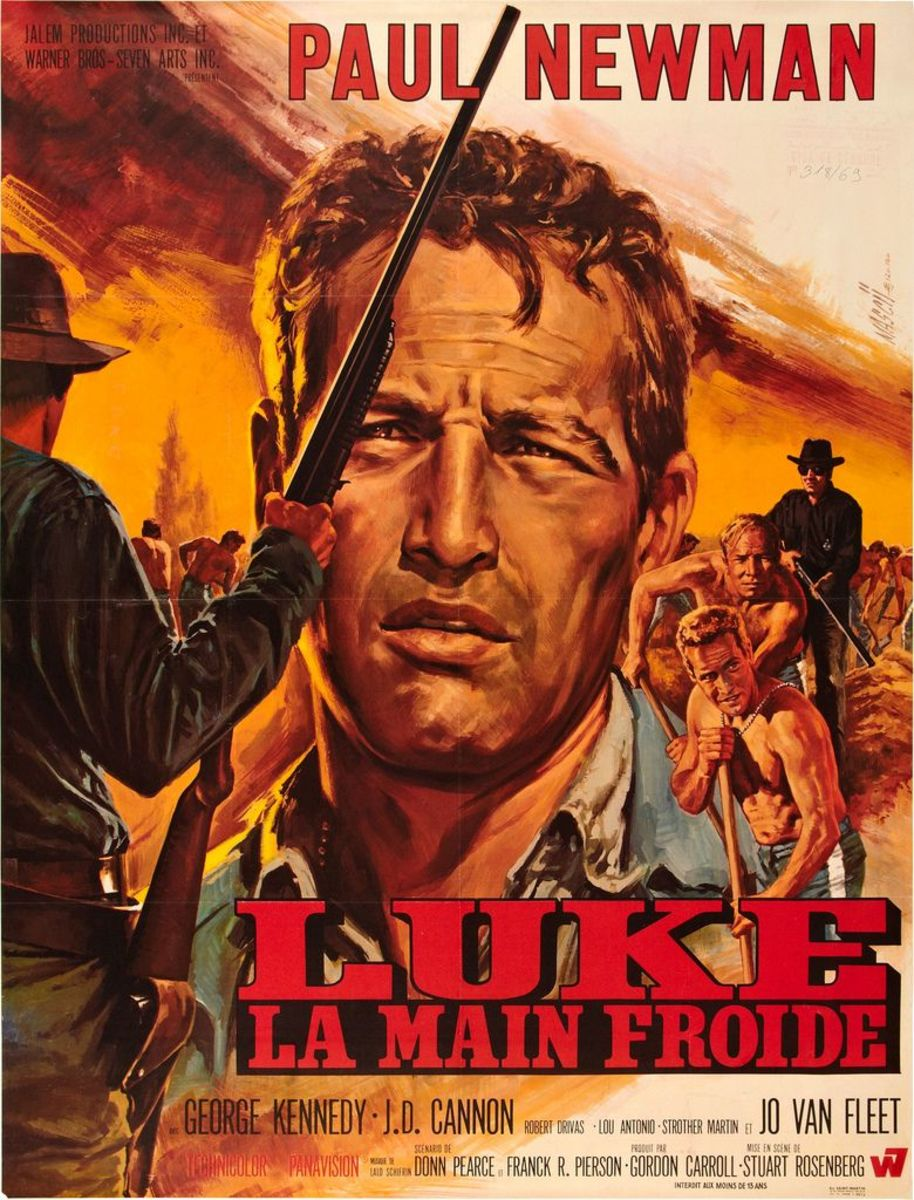 "Cool Hand Luke (Warner Brothers 1967)  French Grande (47"" X 63"") Paul Newman, George Kennedy, Strother Martin"