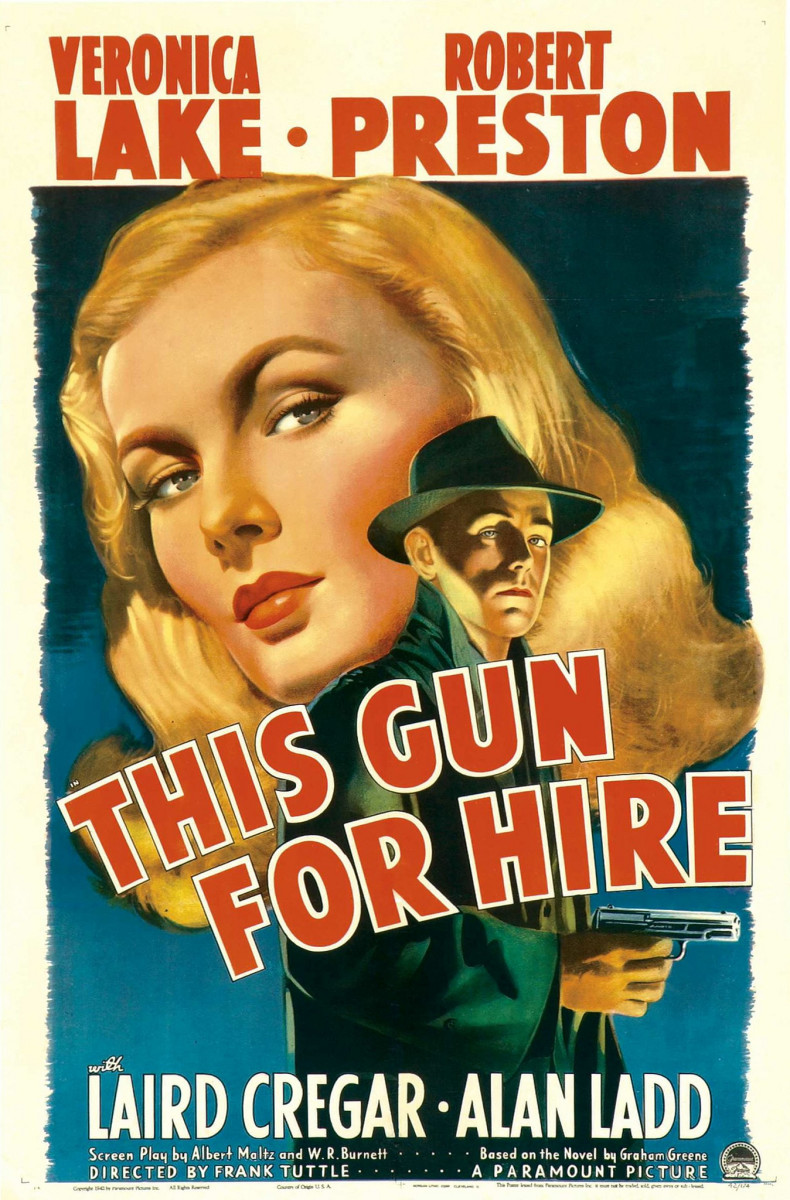 """This Gun For Hire"" Paramount One Sheet (1942) 27"" X 41"" Veronica Lake, Alan Ladd"