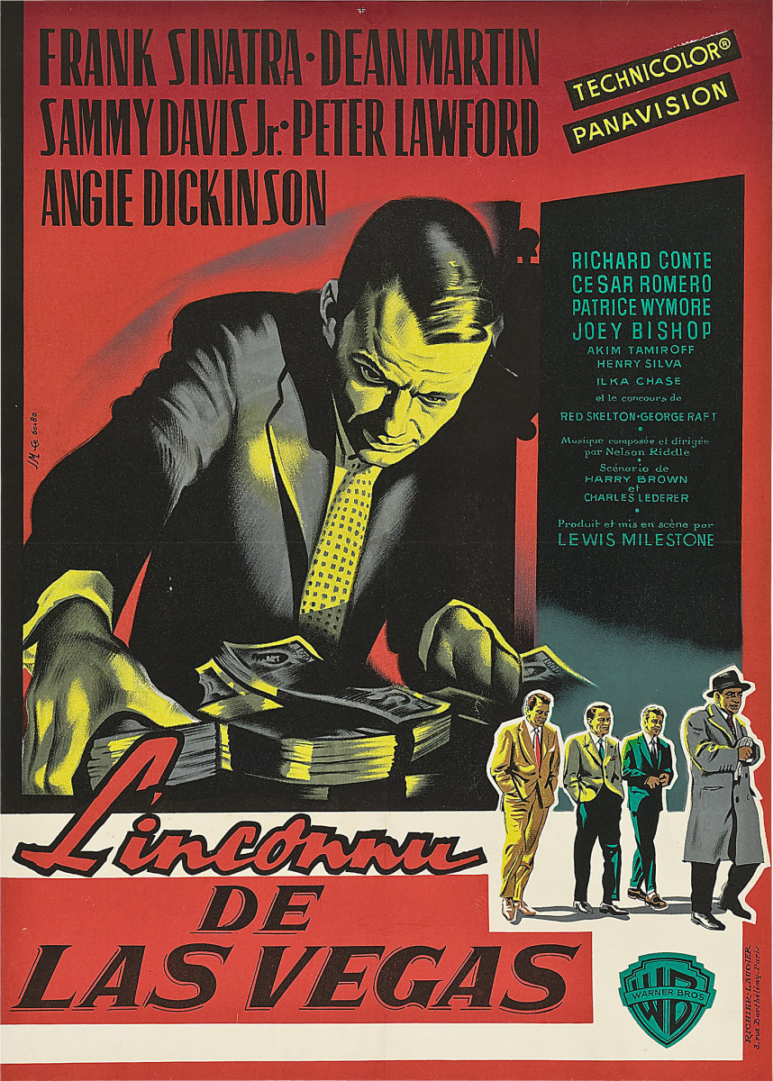 "Ocean's 11 (Warner Brothers, 1960). French Affiche (22"" X 31"") Frank Sinatra, Dean Martin, Sammy Davis Jr., Peter Lawford, Angie Dickinson"