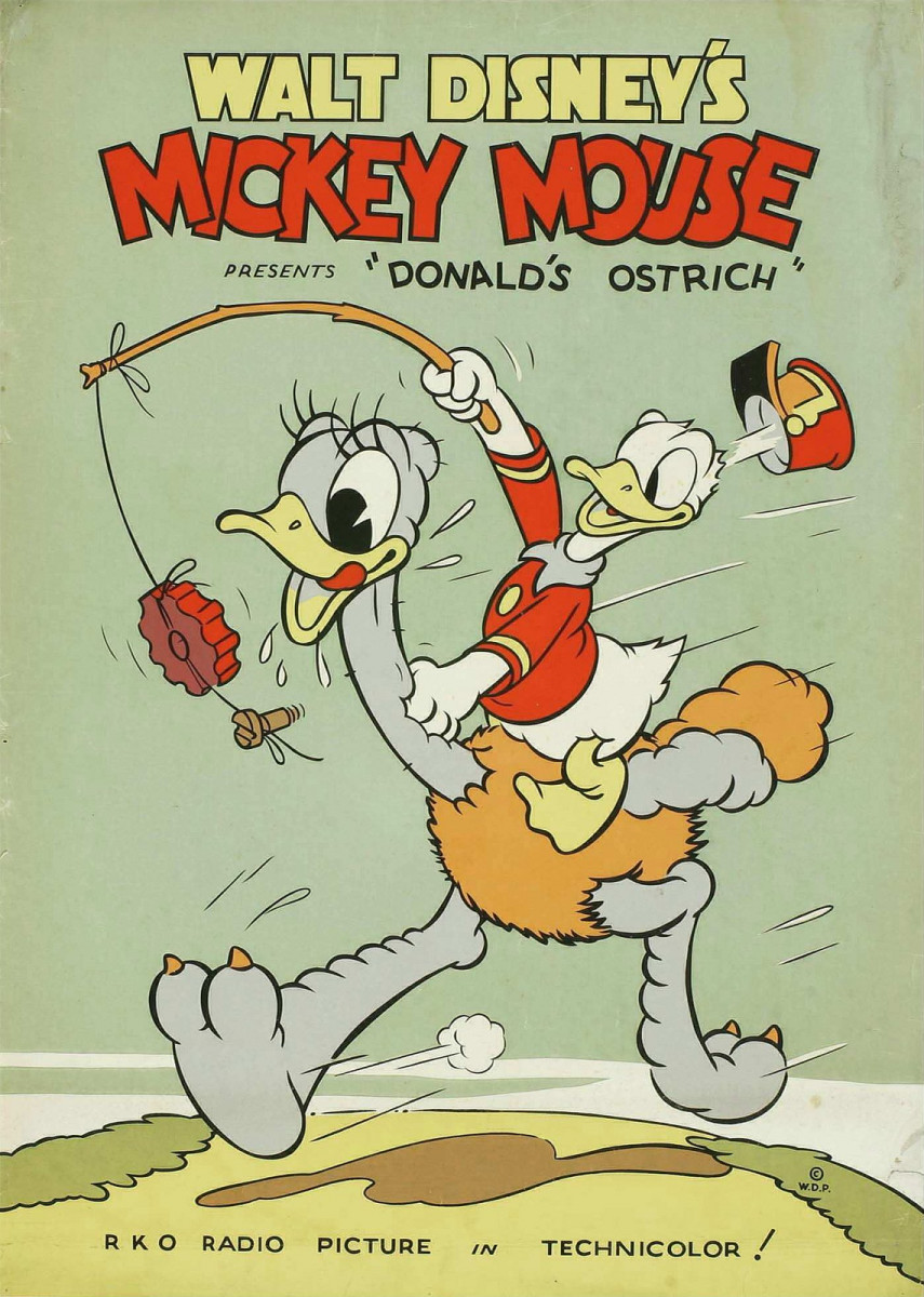 "Walt Disney's Mickey Mouse ""Donald's Ostrich"" (RKO, 1937) Poster (40"" X 60"") Mickey Mouse, Donald Duck"