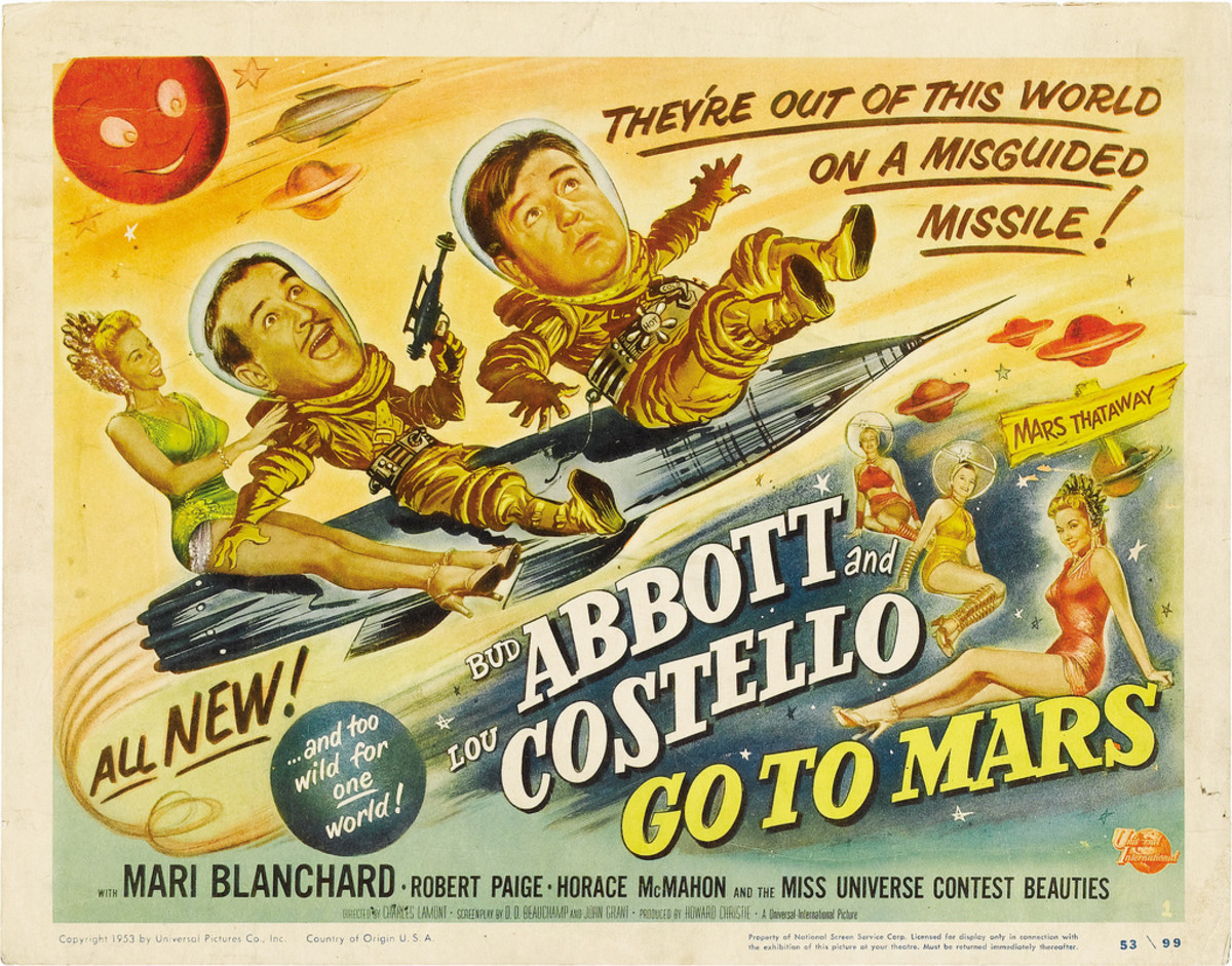 "Bud Abbott & Lou Costello in ""Abbott & Costello Go to Mars"" Universal International Title Lobby Card (1953) 11"" X 14"""