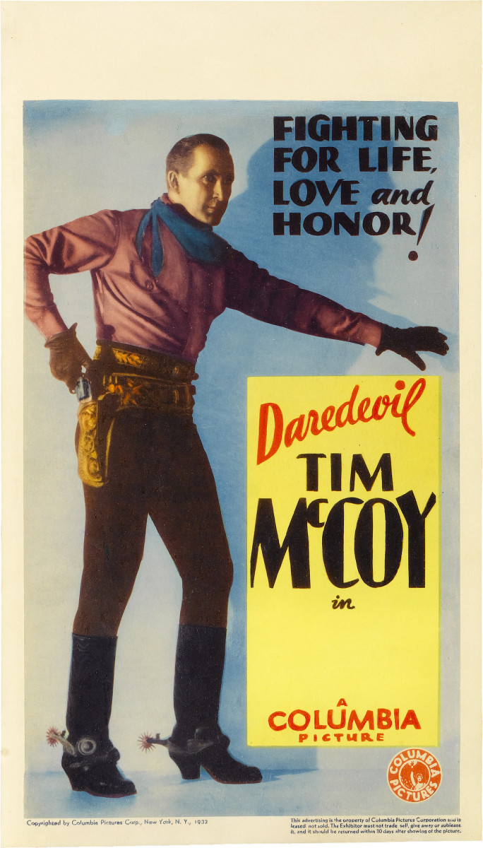 "Tim McCoy Columbia Stock Midget Window Card  (1932). 8"" X 14"" Tim McCoy"
