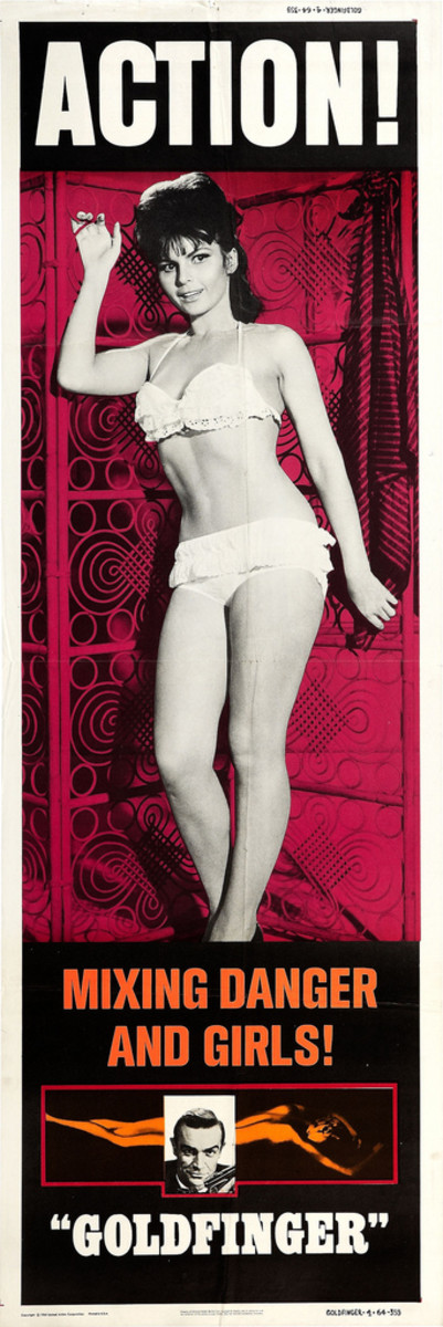 "James Bond ""Goldfinger"" United Artists 1964 Tania Mallet Door Panels 20"" X 60"" #4"