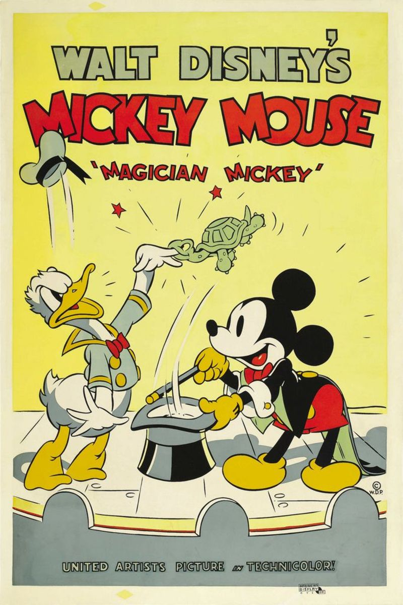 "Walt Disney's Mickey Mouse ""Magician Mickey"" (United Artists 1937) Poster (40"" X 60"")  Mickey Mouse, Donald Duck"