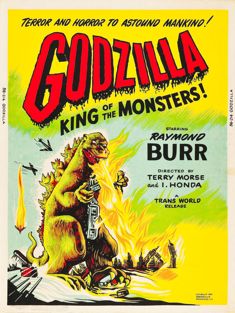 "Godzilla (Trans World, 1956). Day-Glo Color Poster (30"" X 40"") Raymond Burr"