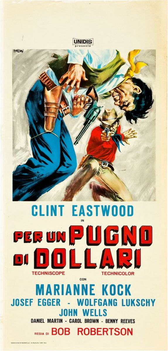 """A Fistful of Dollars"" (Unidis 1964) Italian Locandina, Country of Origan Poster (13"" X 27"") Clint Eastwood, Sergio Leone Directed"