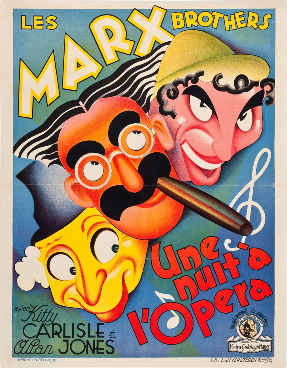 """A Night at the Opera"" (MGM, 1935). Pre-War Belgian (24"" X 30.5"")  Marx Brothers, Groucho, Harpo, Chico"