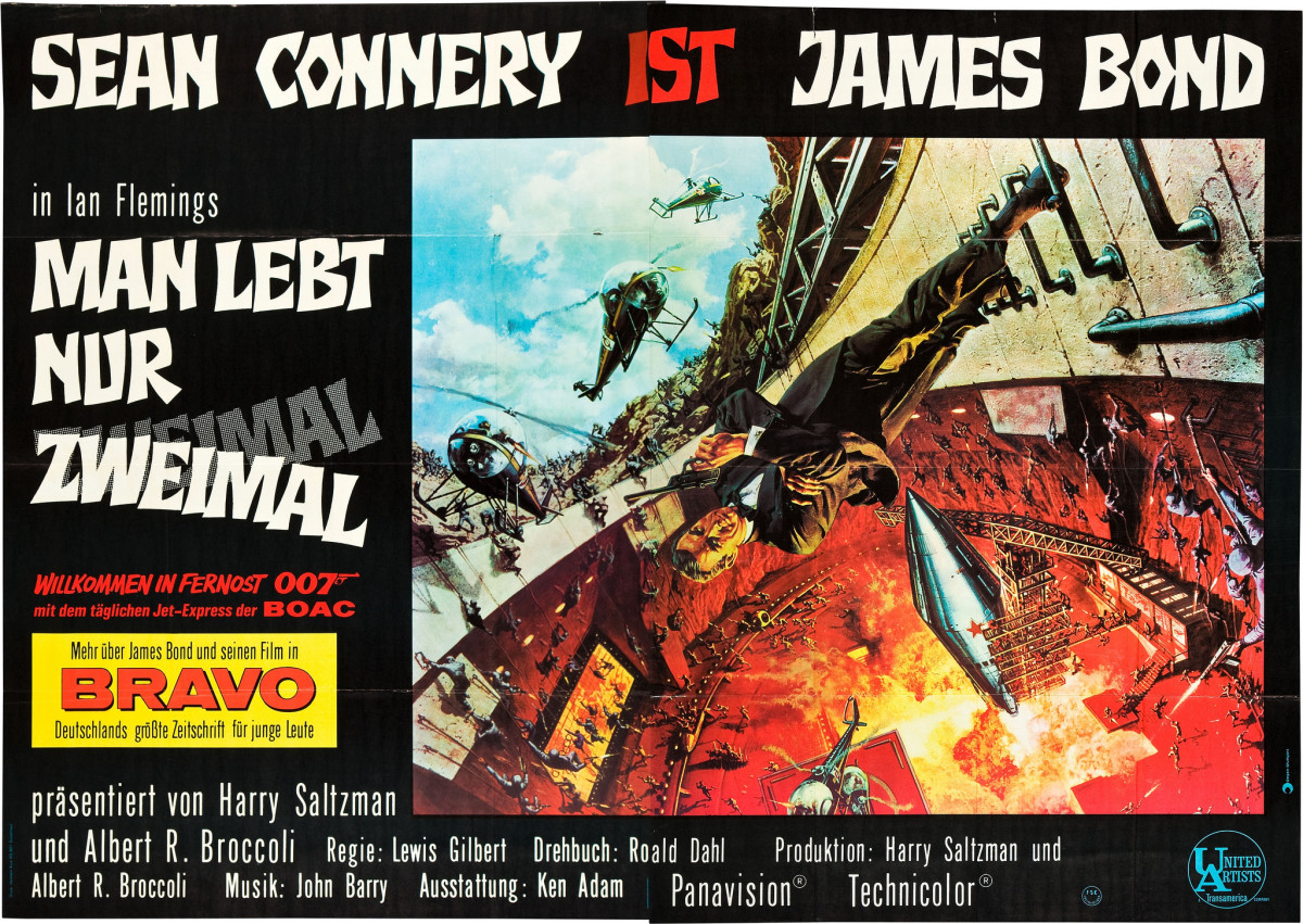 "James Bond ""You Only Live Twice"" (United Artists, 1967) German A0 Poster (46.5"" X 67"") Sean Connery"