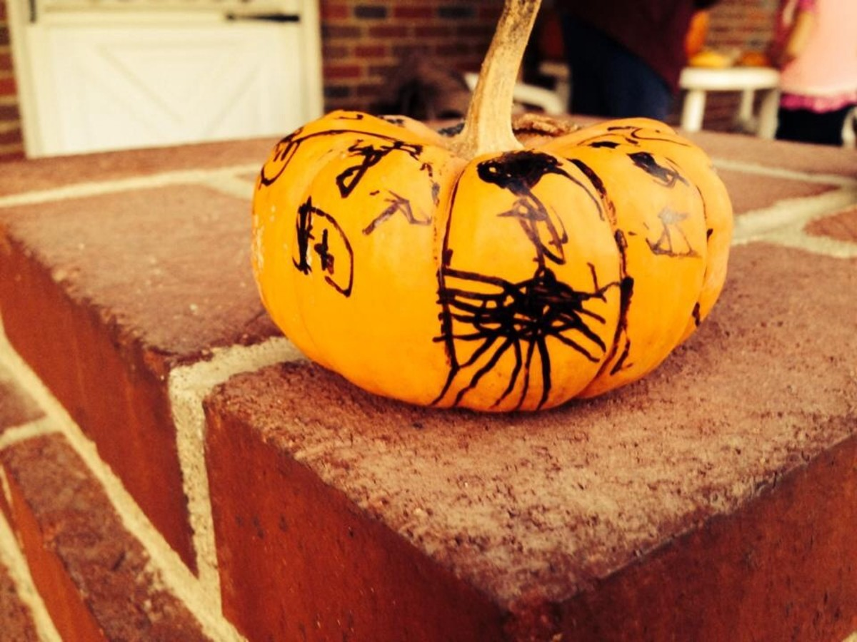 Again with more black spiders, this is my 4 year old daughters mini pumpkin.