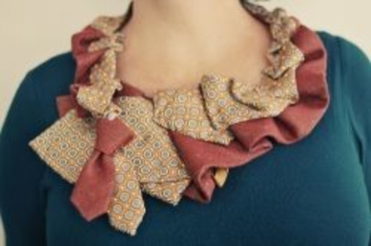 Tricia from Oh So Crafty shares a different take on the pleated scarf made by many others. I really like the combinations of two neckties and the not-so-linear style of pleatng she uses for a lovely ruffled look.