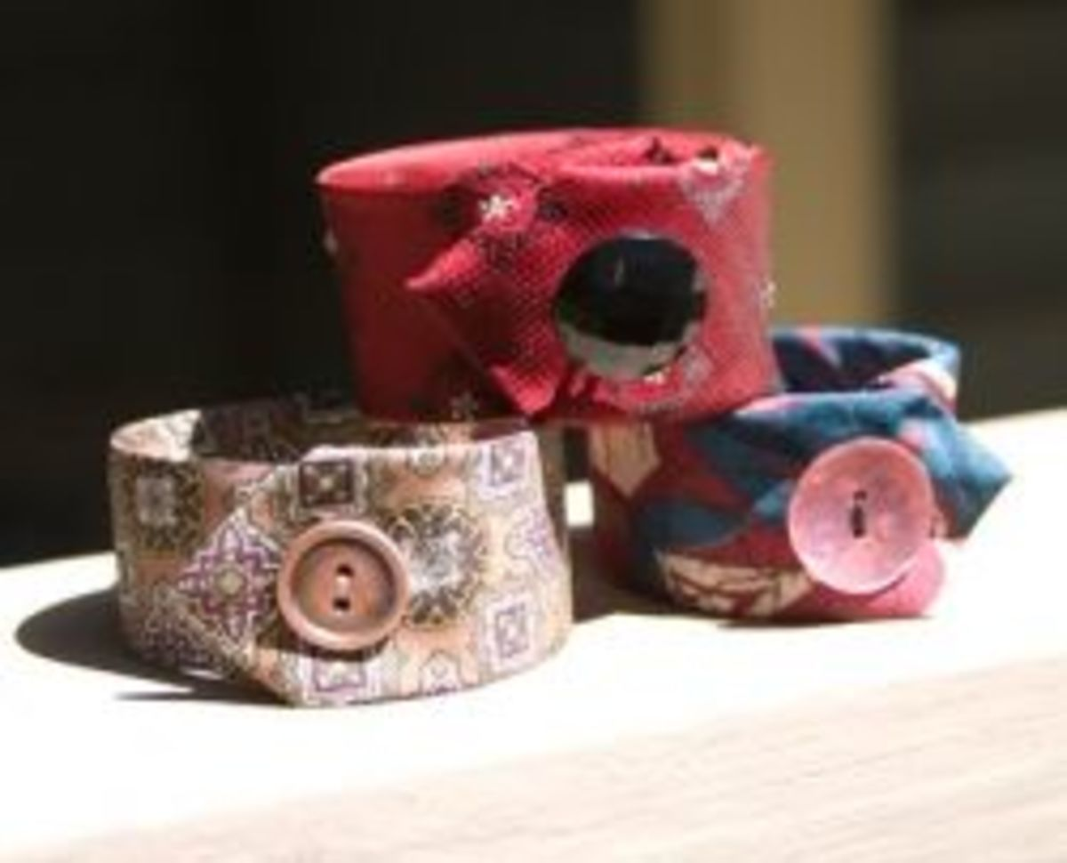 Upcycle neckties (and part of a hidden yogurt container) in this clever bracelet tutorial. I think my favorite part of this project is that the button is completely decorative, hiding a snap that make this cuff easy on, easy off.