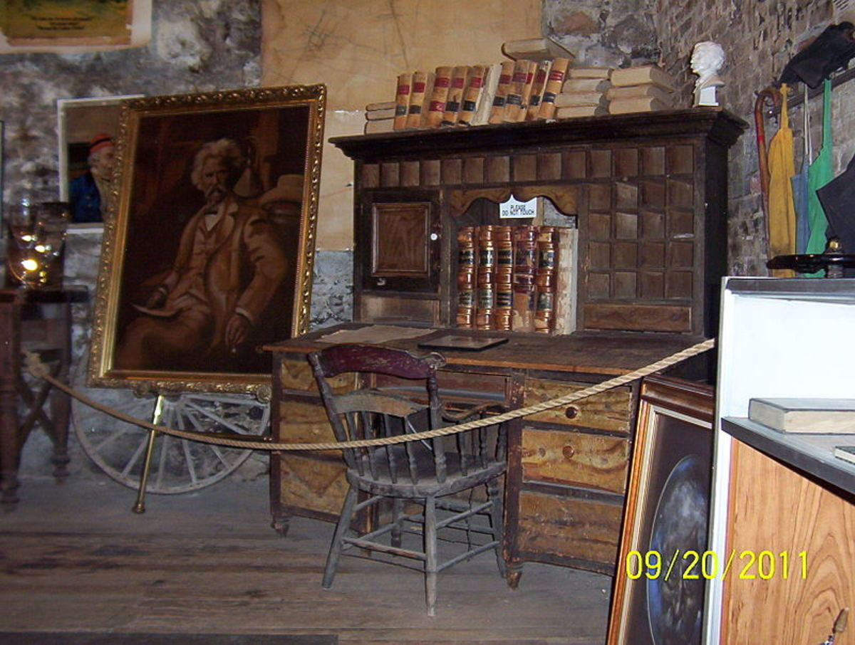 The desk Mark Twain used when editor of the Territorial Enterprise in Virginia City, Nevada