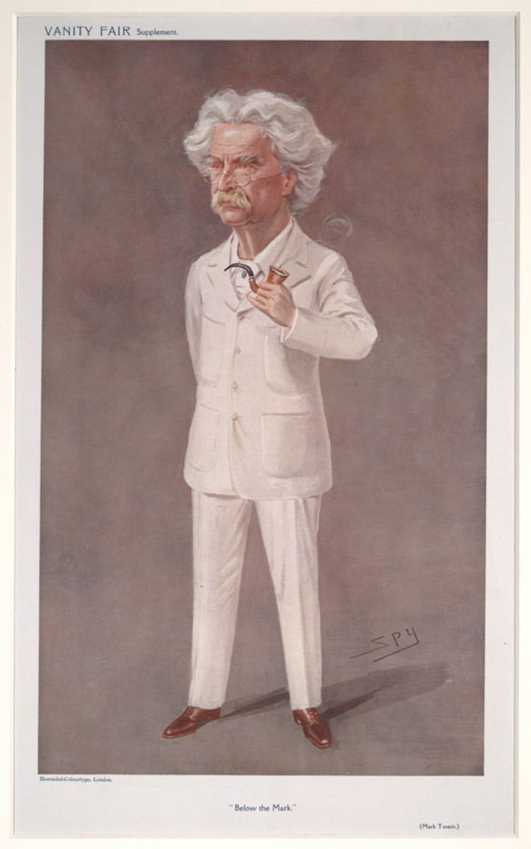 Twain caricatured by Spy for Vanity Fair, 1908, by Leslie Ward (1851–1922).