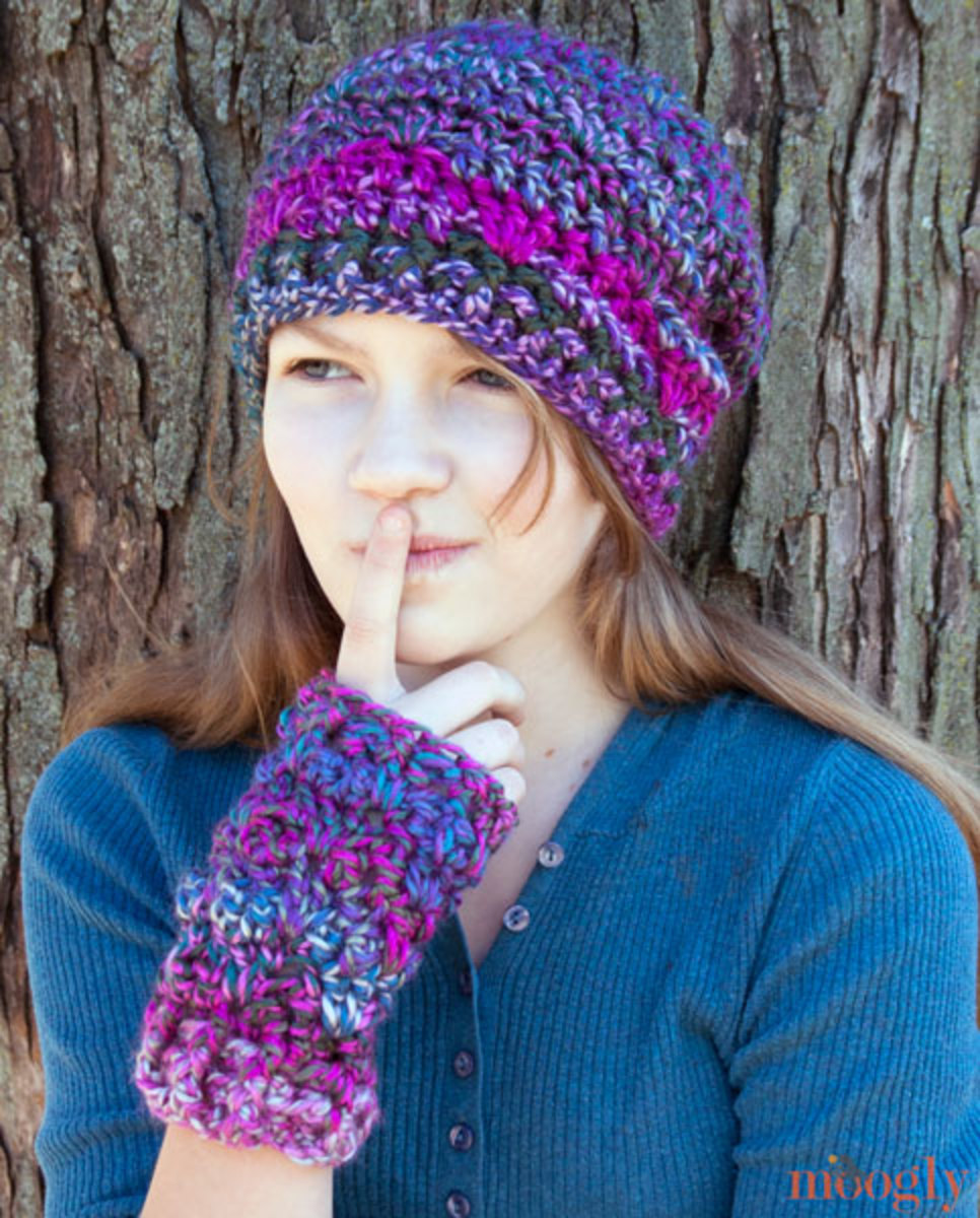 Luscious Fingerless Mittens and Hat