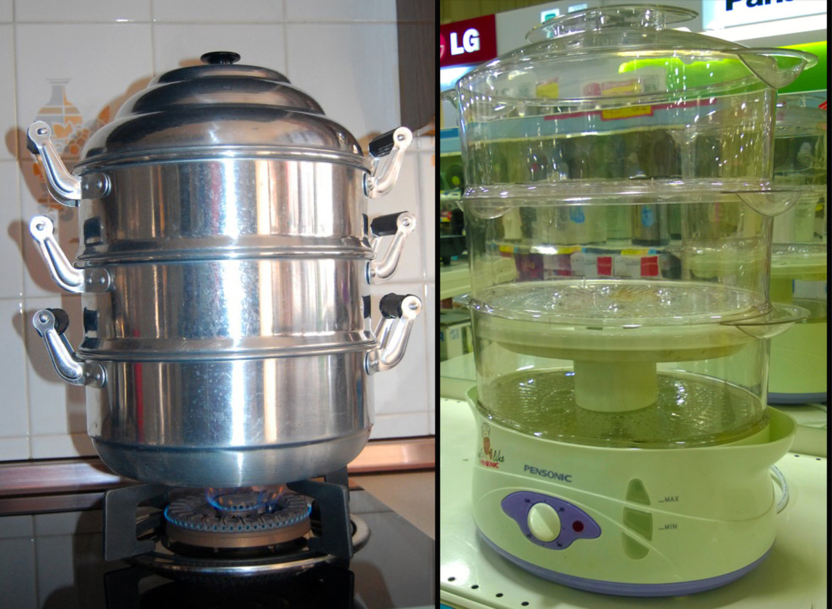 Tiered Steamers or Stacking Steamers -Left: aluminum steamer Right - electrical heat-proof plastic steamer