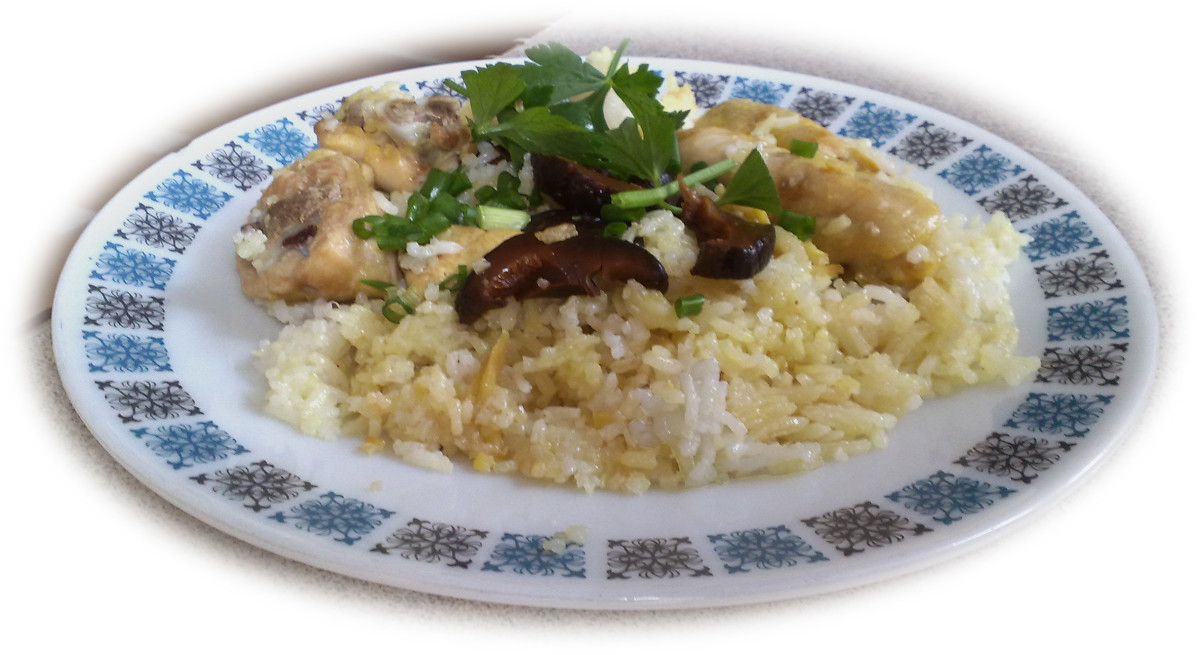 Delicious and nutritious chicken and mushroom rice