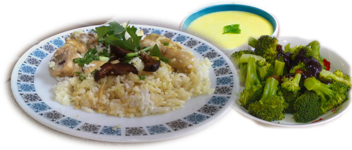 3 simple yet delicious recipes - chicken mushroom rice, broccoli oyster sauce and egg and milk custard