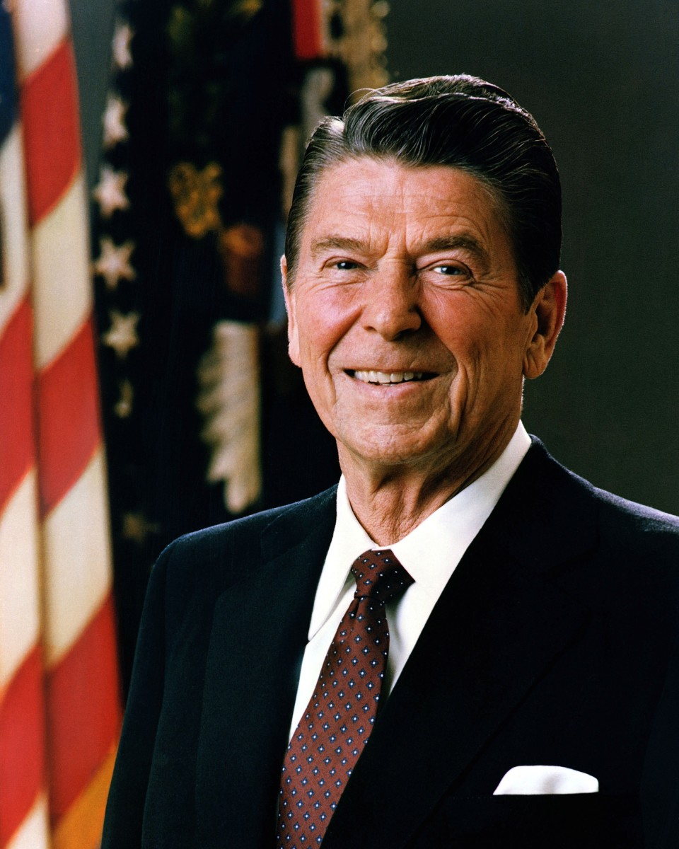 The official portrait of Ronald Reagan.