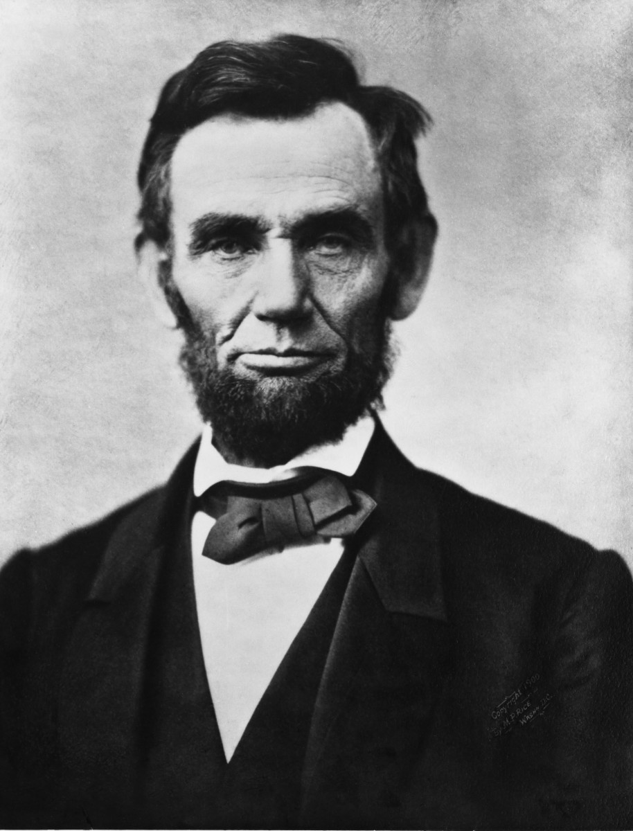 A photo portrait of Abraham Lincoln.