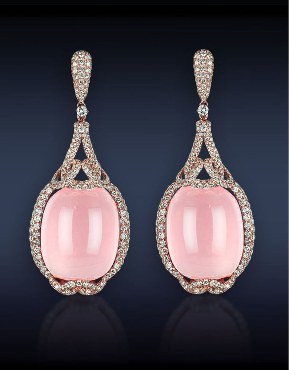 These, in contrast to the picture immediately preceding it, are spectacular! Lustrous, opaque rose quartz earrings by Jacob &Co.  Photo courtesy of Jacob &Co.