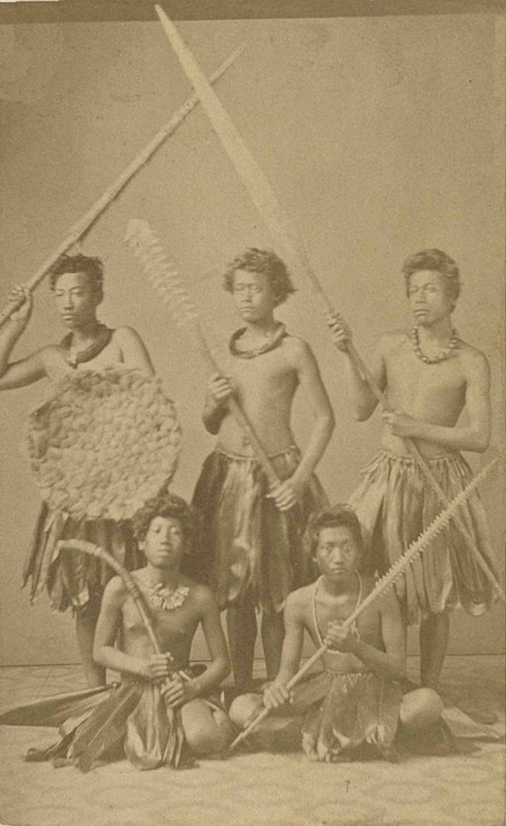 Group of Hawaiian warriors, ca 1860