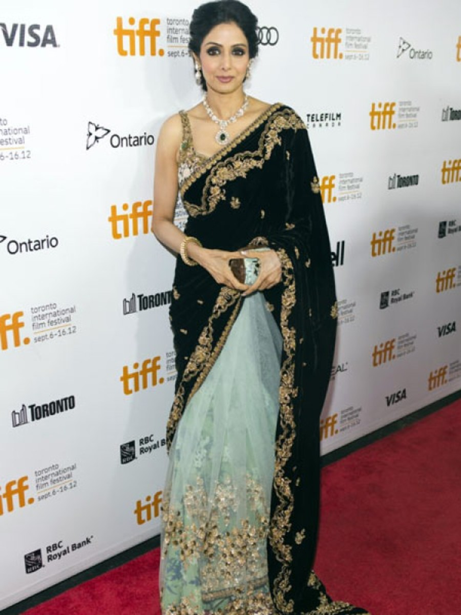 Sridevi in blue and black Sabyasachi Designer Saree -