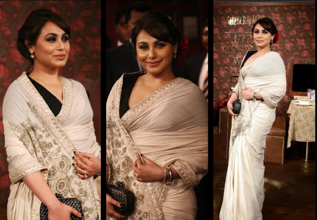 Rani Mukherjee in Sophisticated ivory Sabyasachi Saree with Black Blouse
