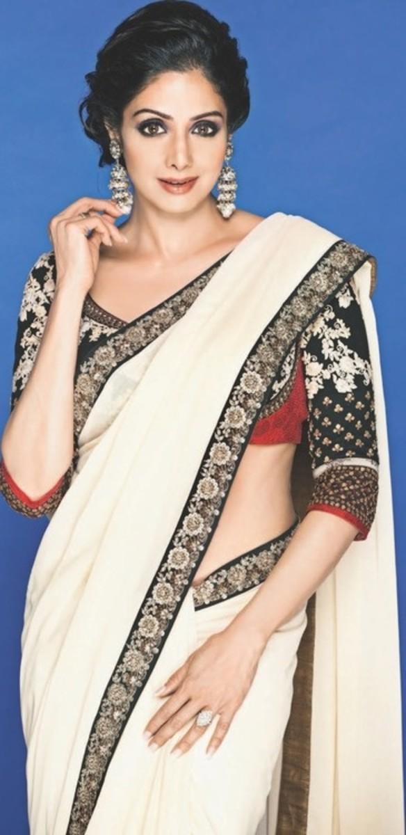 Beautiful Sridevi in Offwhite, black and red  Sabyasachi Mukherjee Saree