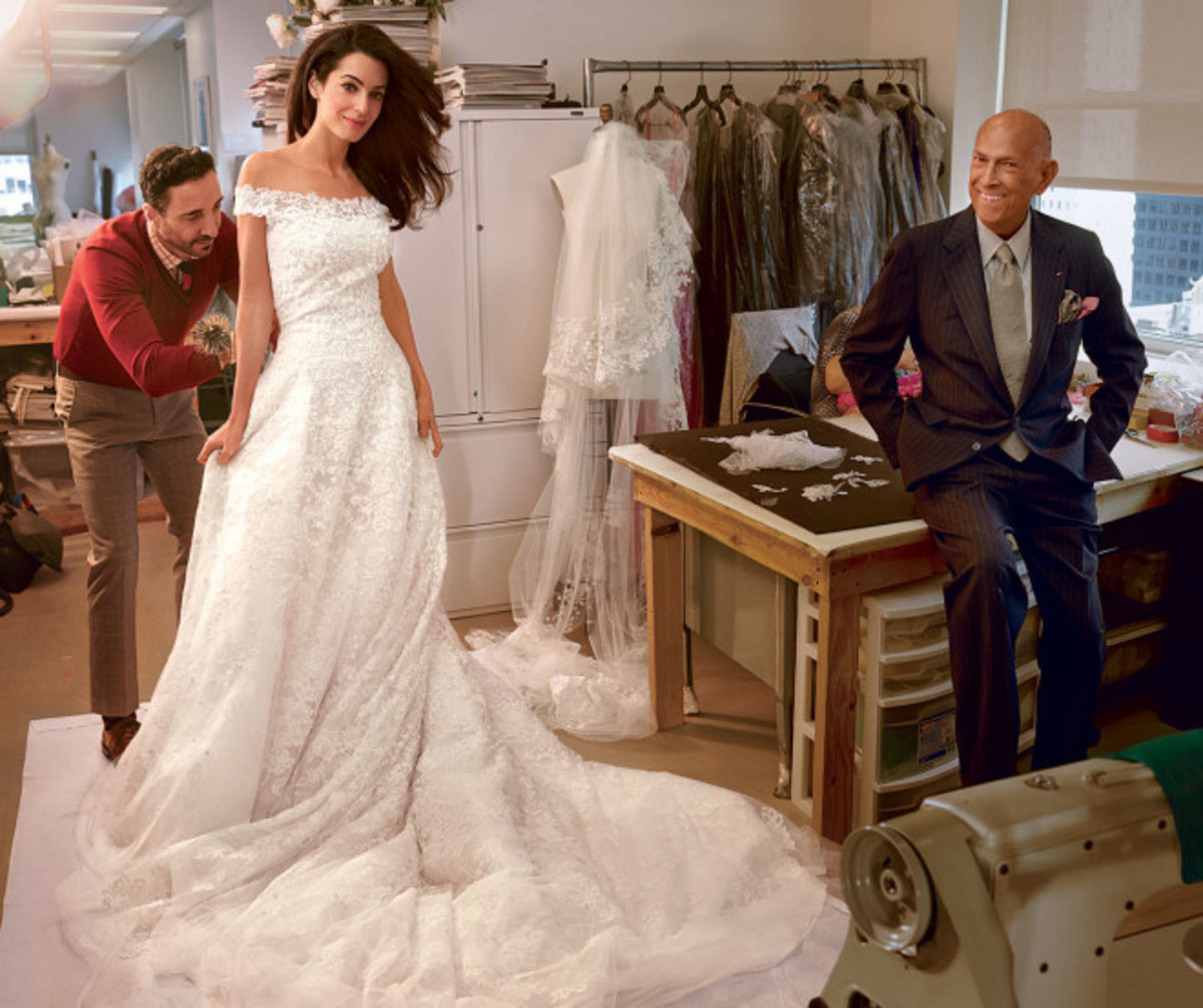 Amal Alamuddin (bride of George Clooney) and Oscar de la Renta at her final wedding dress fitting.