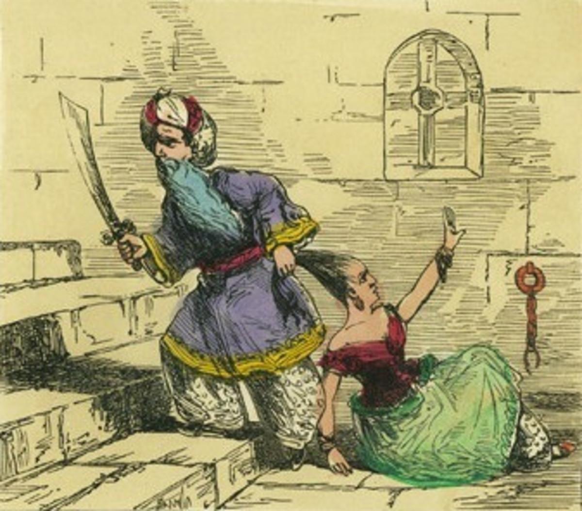 Vintage illustration of Bluebeard by Edmund Evans