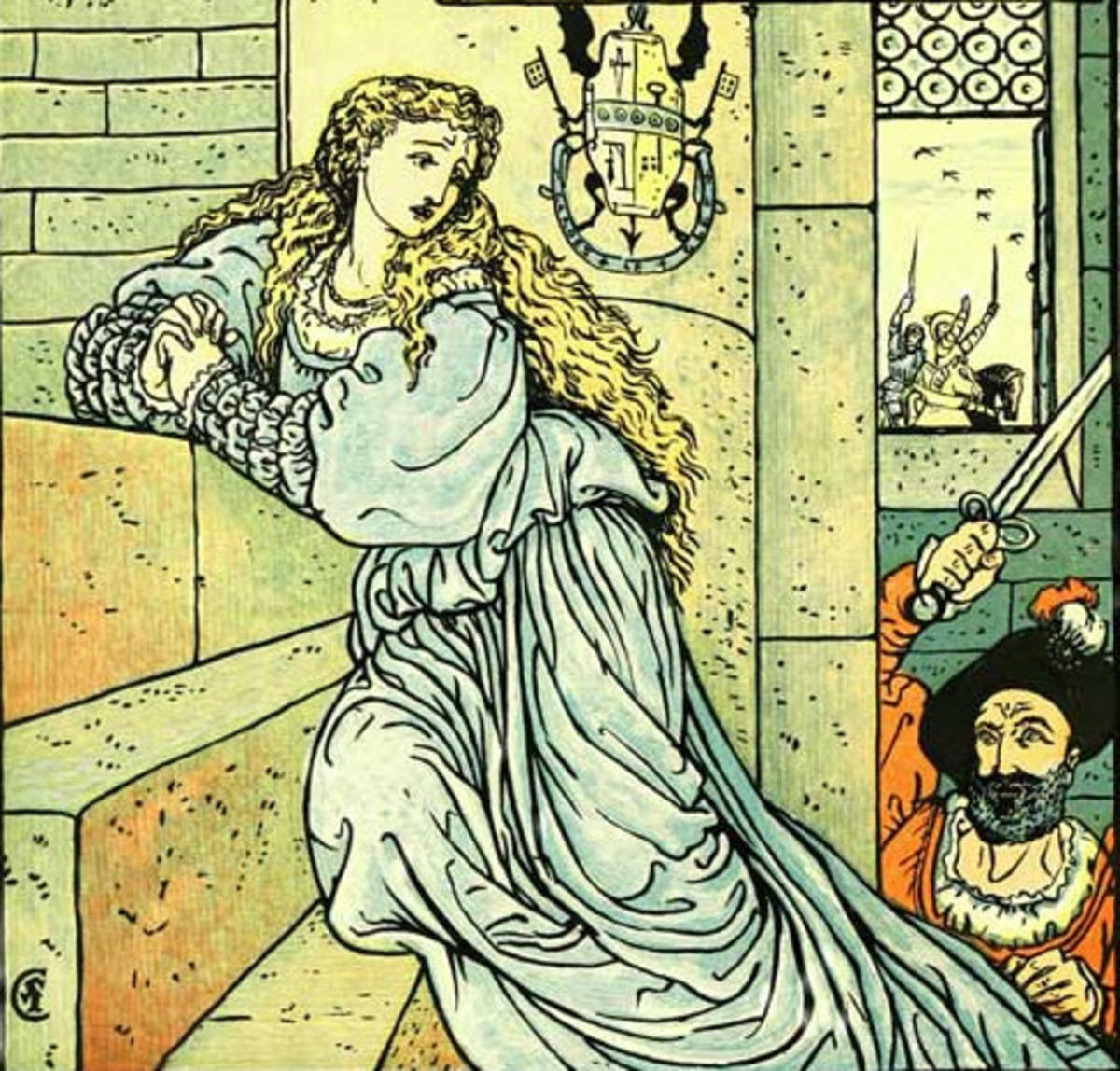 Bluebeard chasing his wife (picture by Walter Crane)
