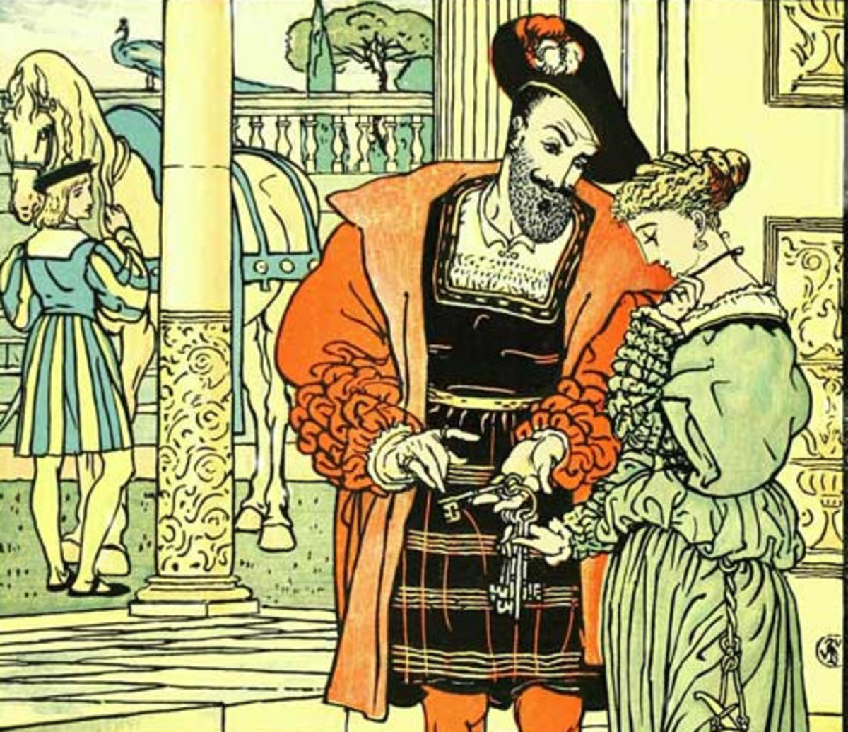 Bluebeard and his wife, illustrated by Walter Crane