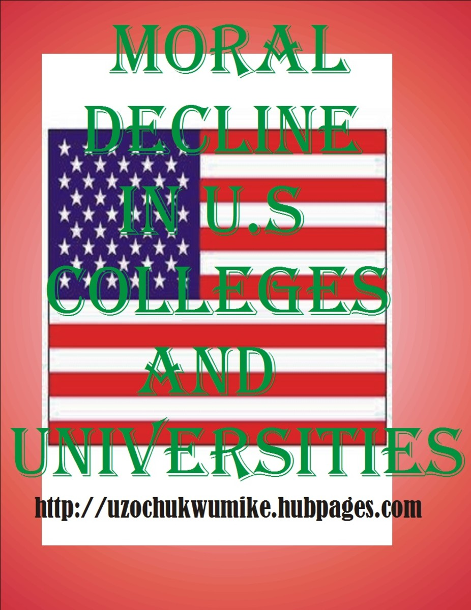 An illustration on moral decay in colleges and universities in United States of America