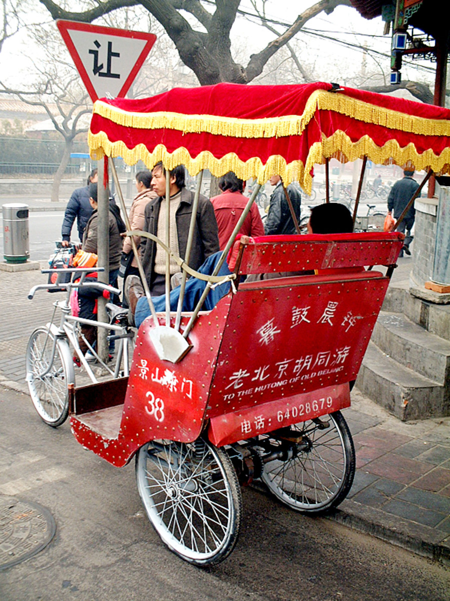 "In many countries, the term ""rickshaw"" is more common for a bike taxi, but in the US ""pedi-cab"" is the most common nomenclature."