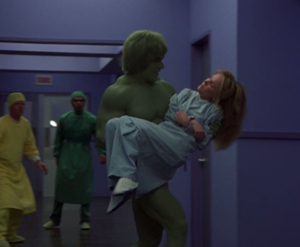 The Incredible Hulk rescues Katie from her confinement in an exam room.
