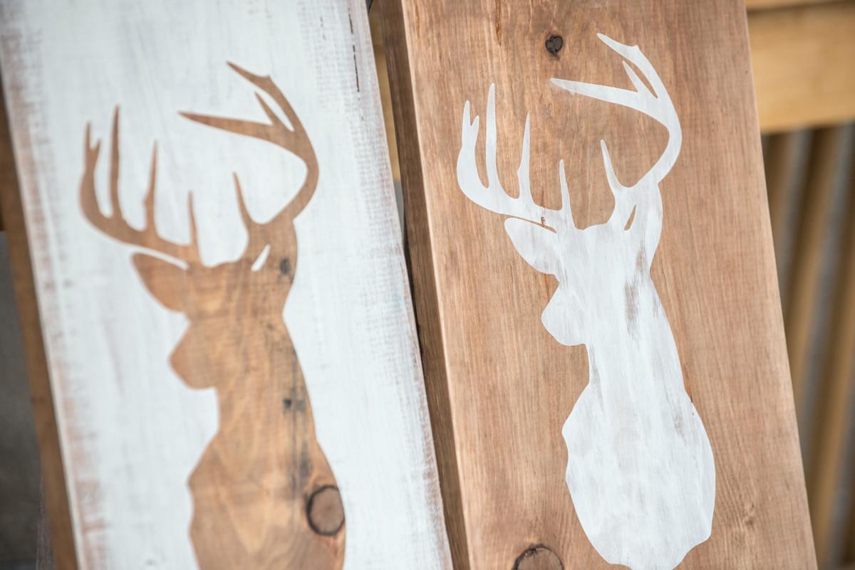 DIY Distressed Deer Head Silhouette Rustic Wood Sign