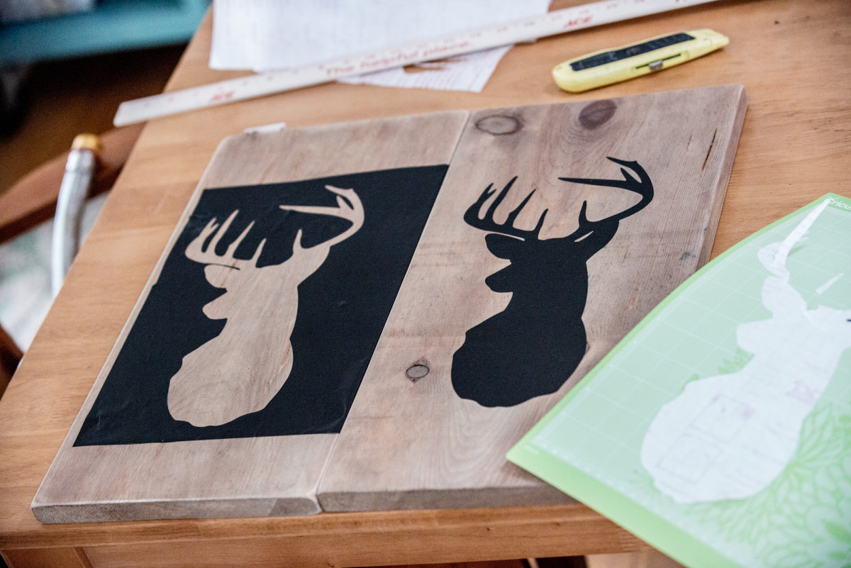 Stencils cut from contact paper