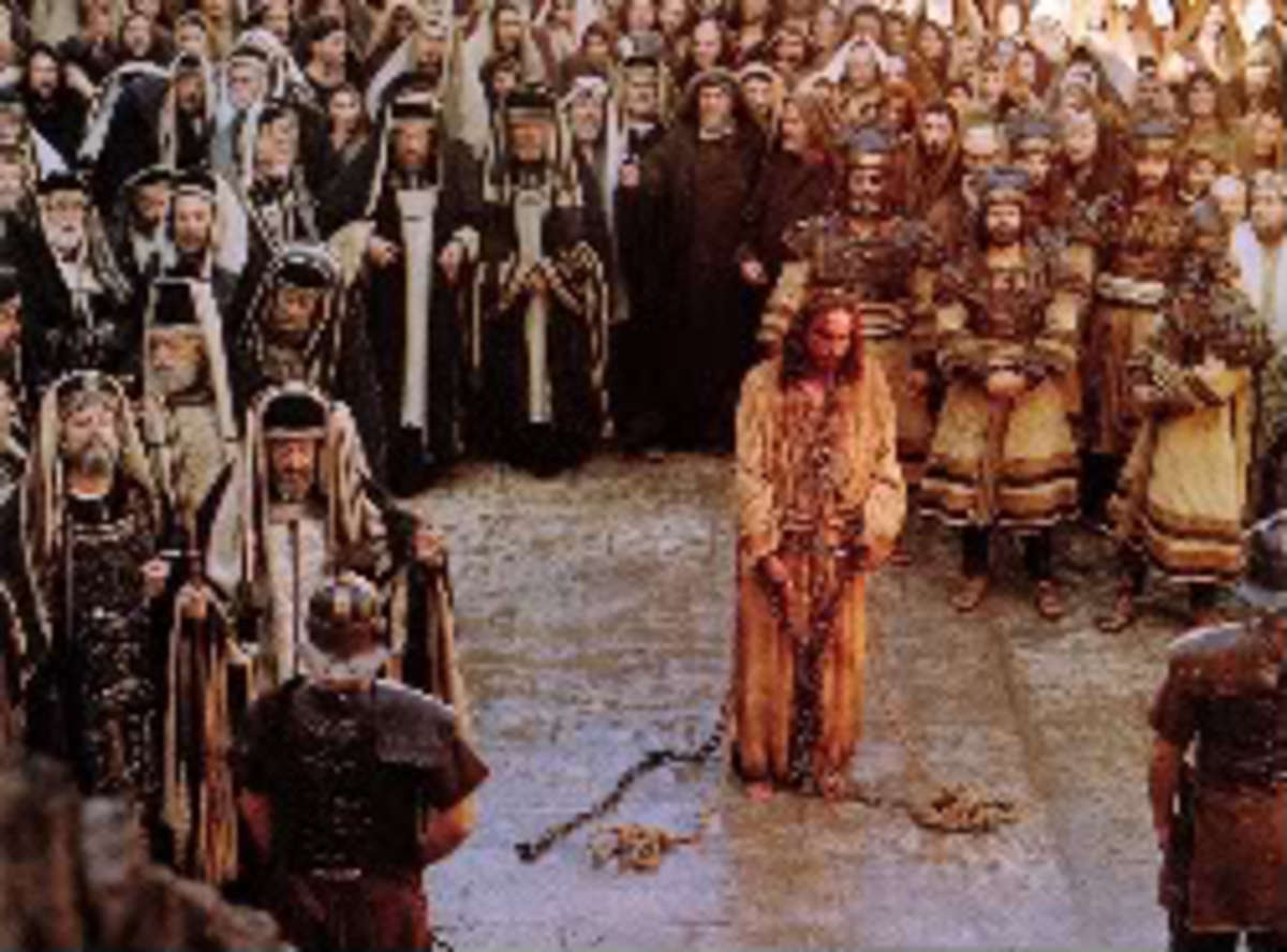 This picture is about Jesus on Trial before he was nailed to the cross.