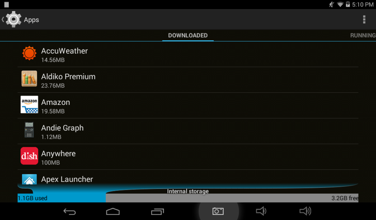 BEFORE:  All apps stored in internal memory, the default and only option that my Apex TM772 tablet uses.