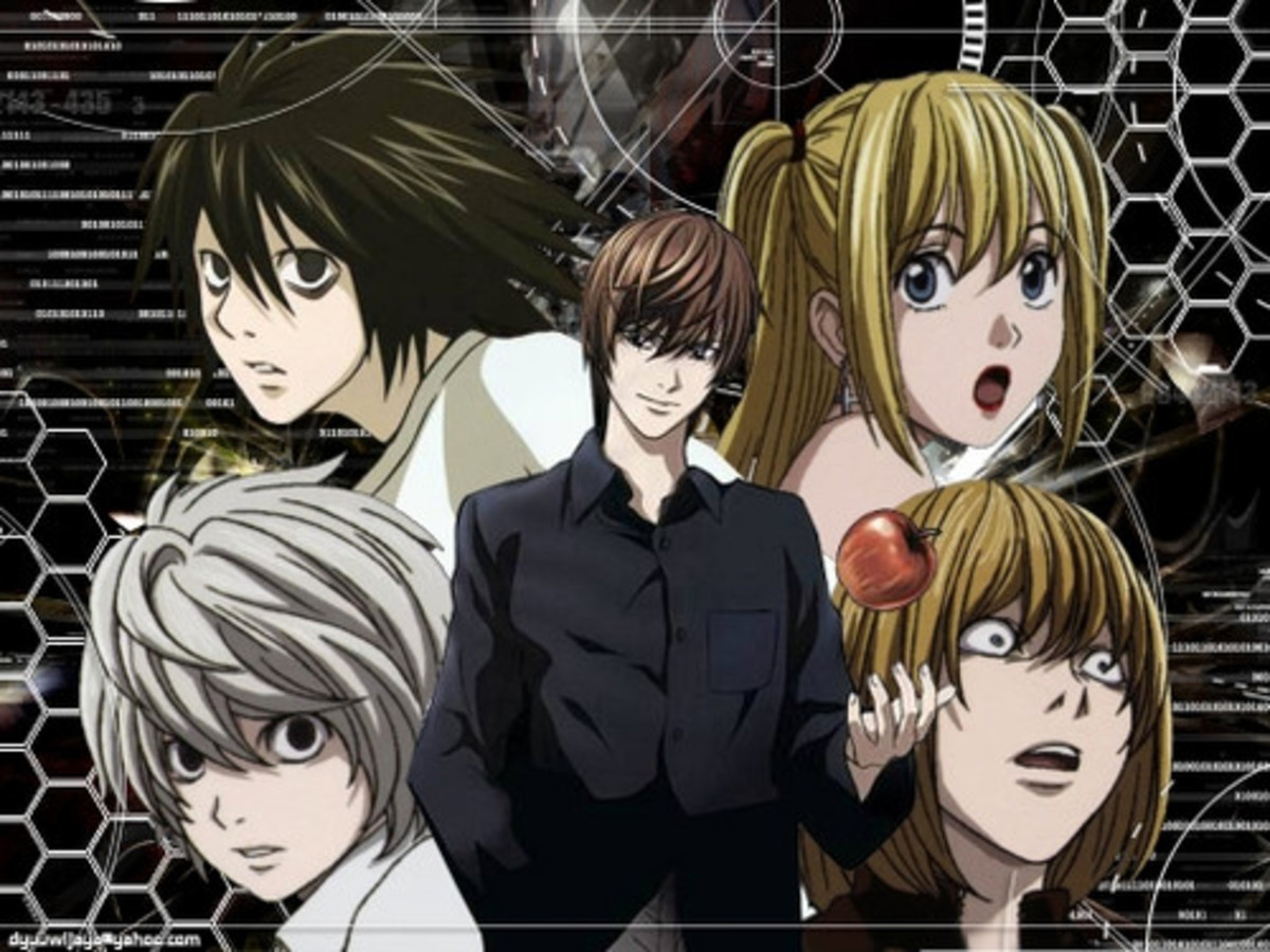 Center, counterclockwise: Light (antihero/villain), Near (hero), L (hero), Misa (antihero), Mello (antihero) I absolutely love this image because it shows all the major characters, but also lines them up in such a way that shows their connection.