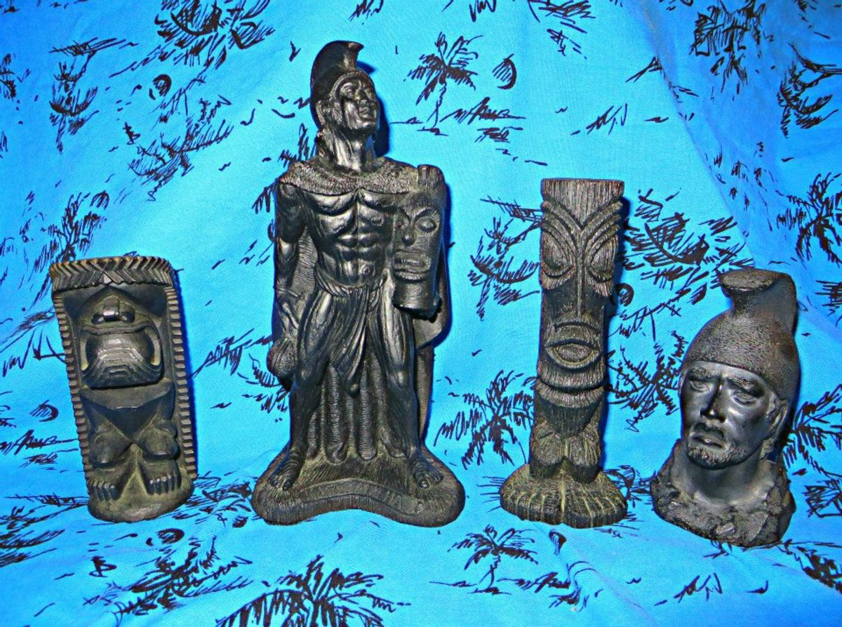One is a eight inch vintage Hawaiian lava King Kamehameha Coco Joe's Hawaii #134, and then there are two vintage Hawaiian Tiki's made from Coco Joe one is dated 1964. Then there is a bust figure of Hawaiian King Kamehameha, made in the 1960s it is 4