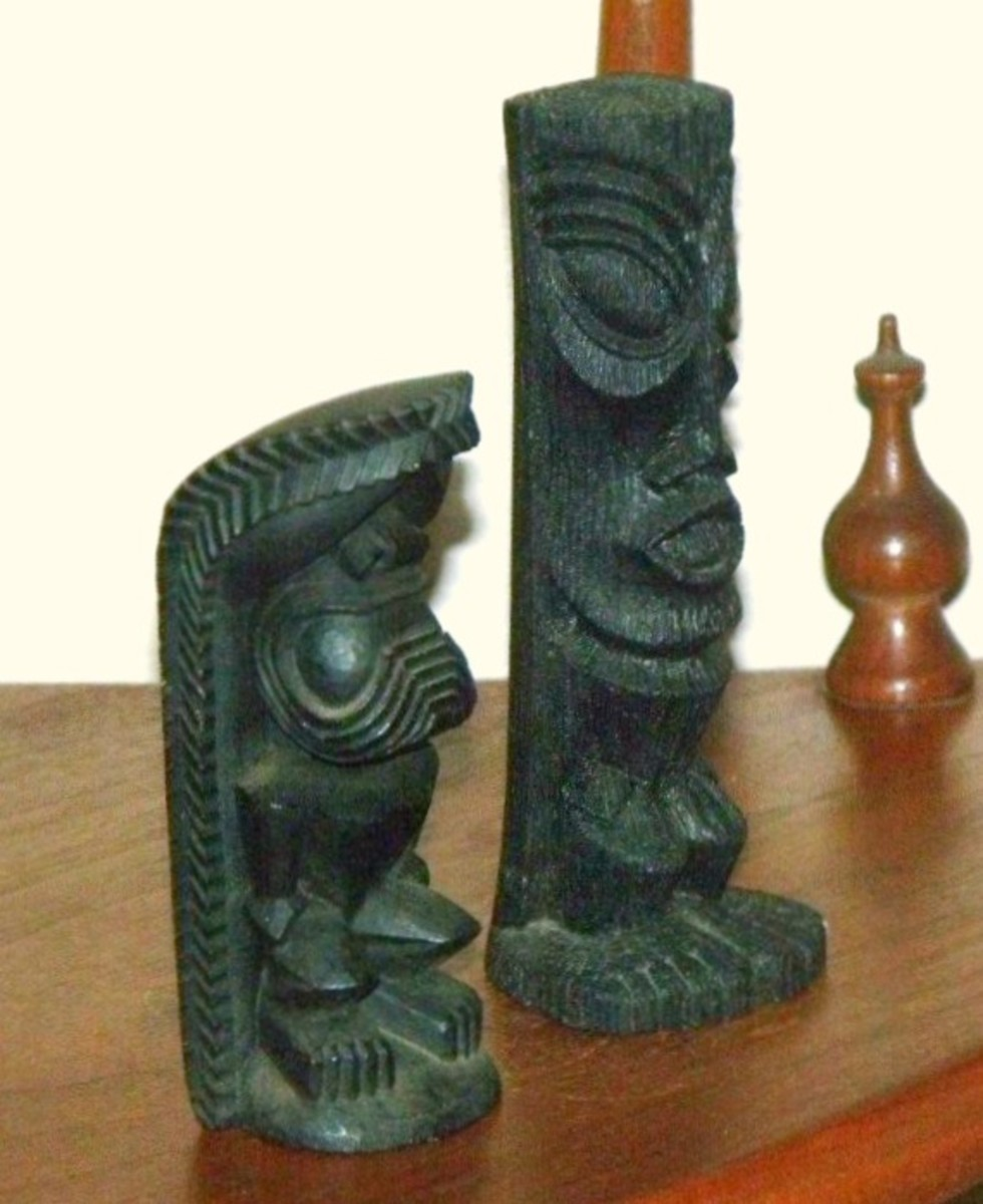 Here we have two vintage, wonderfully made, Coco Joe Lava of the Hawaiian Islands Tiki's made in 1964. The carving and workmanship is suburb in these pieces.