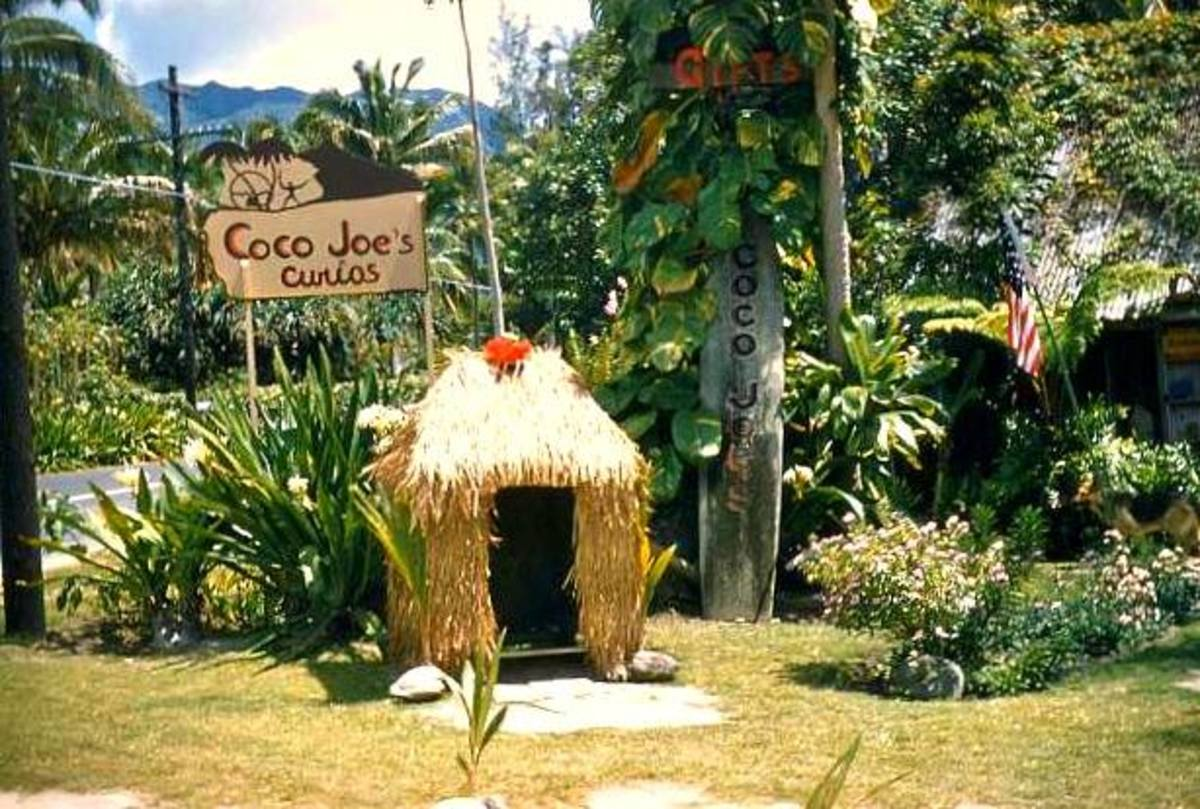 Coco Joes was famous for their pieces sculptured in Lava erupted from the once fiery depths of ancient Hawaiian volcanoes, the designs were always from Hawaii's colorful past and were original creations of solid, stone-like quality.